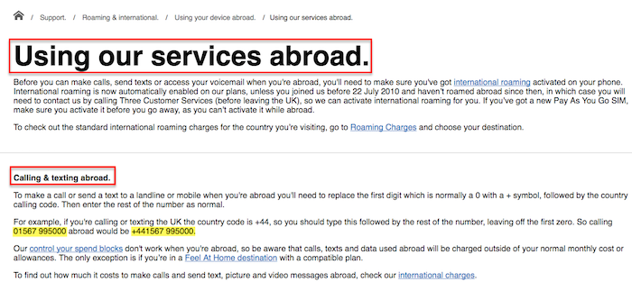 3 Mobile Services Abroad