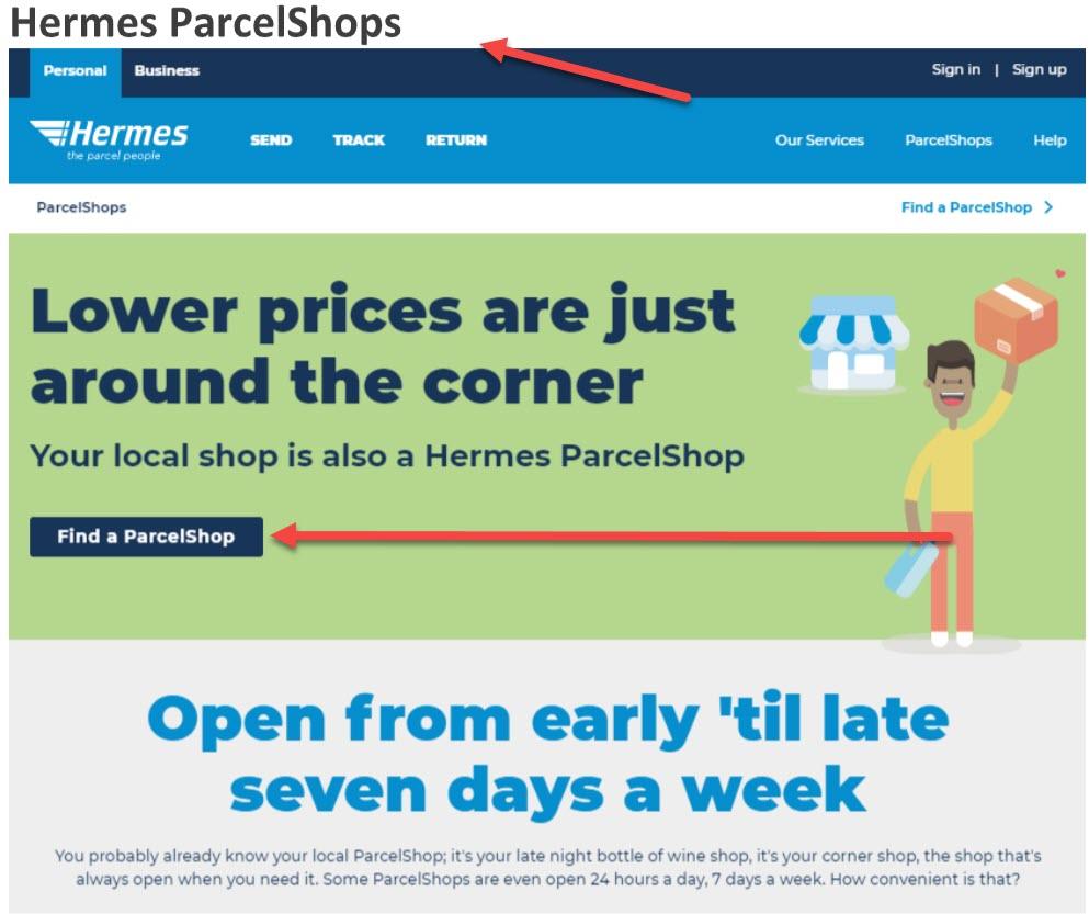 hrmes parcel shop