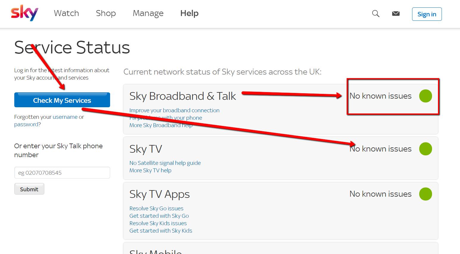 sky service status