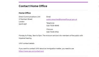 Homeoffice contact information