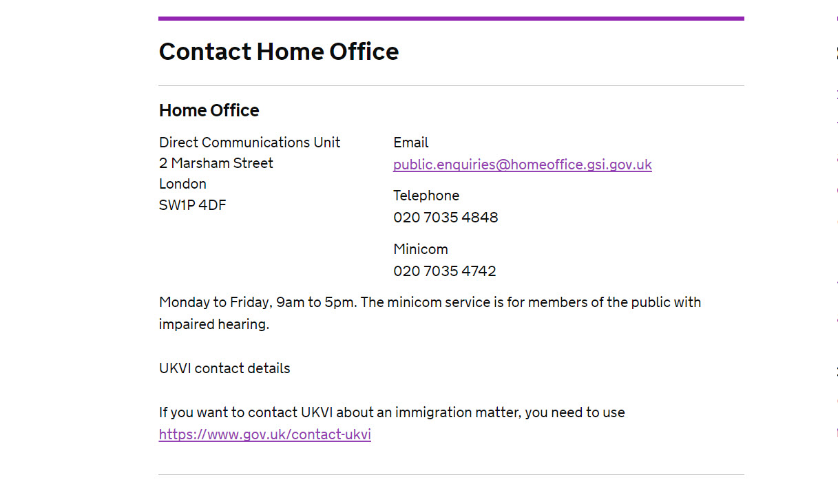 Home Office Customers Contact Number: 0843 837 5398