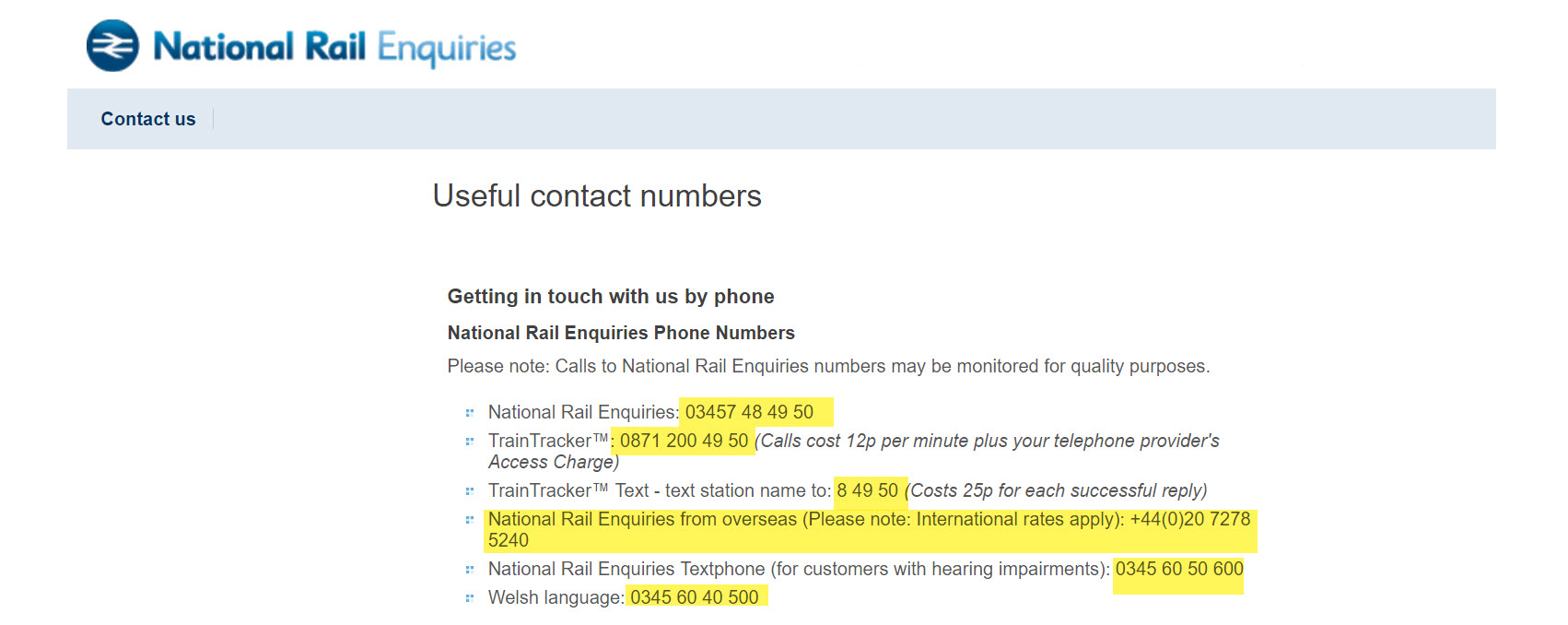 National Rail contact
