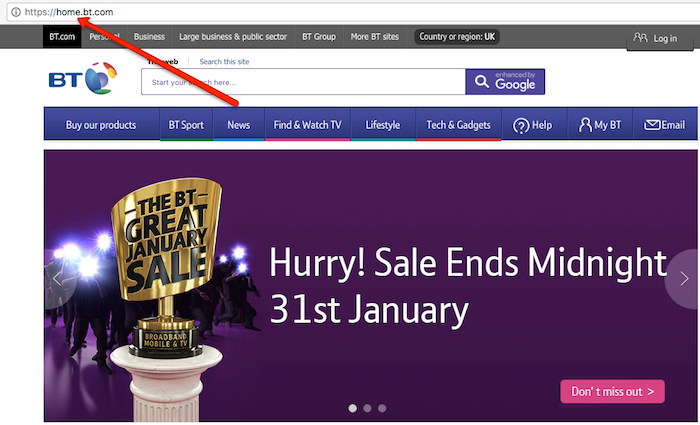 Enter BT Homepage