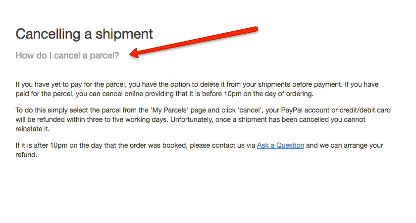 myHermes Cancelling Shipment