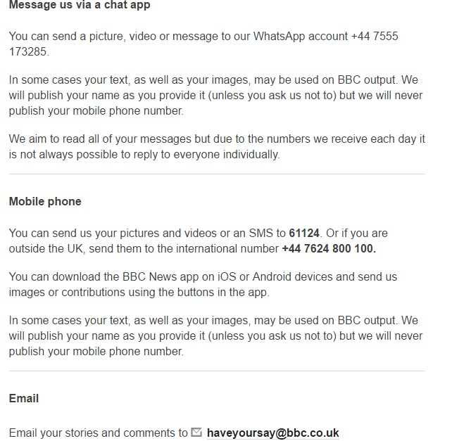 bbc massage through whatsapp