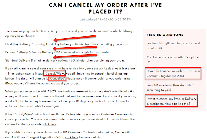 Asos Cancellation Conditions