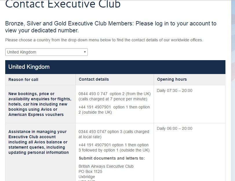 BA Executive Club Contact