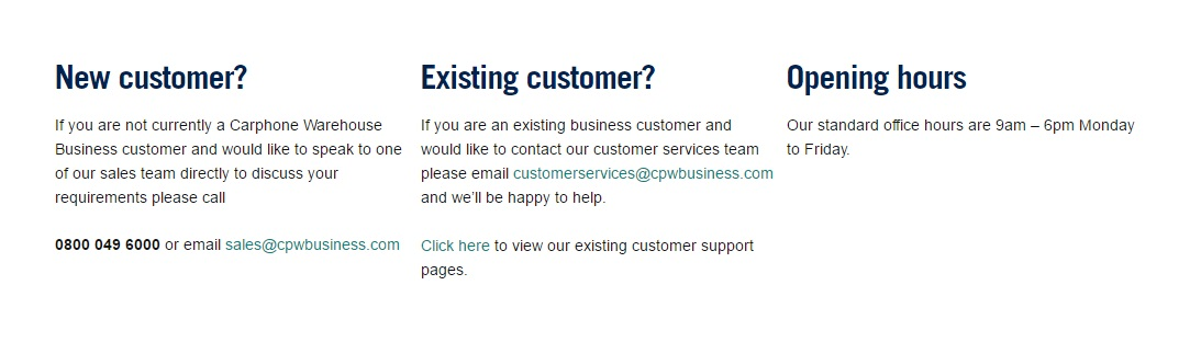 Carphone Warehouse Business support