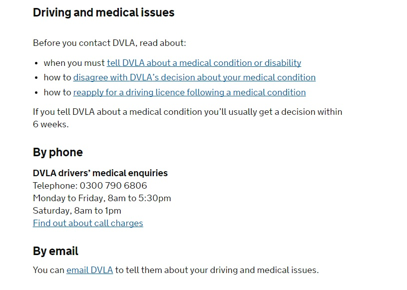 DVLA Medical Contact Number