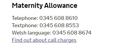 DWP Maternity allowance number