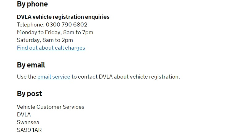 contacting the dvla by phone, email or post