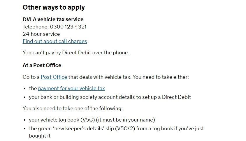 DVLA Vehicle Tax Number