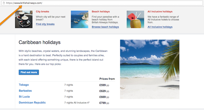 British Airways Homepage