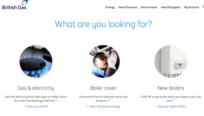 British Gas homepage