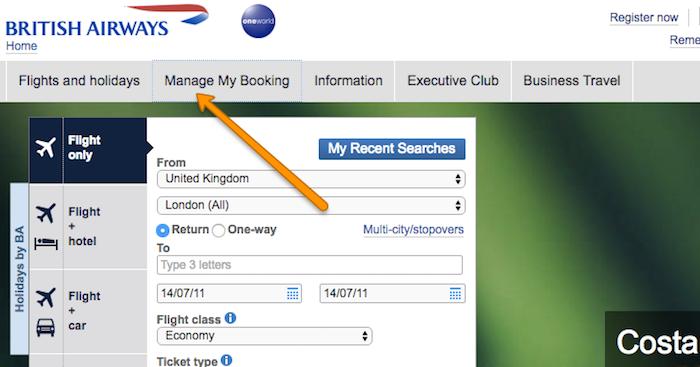 manage my booking British Airways