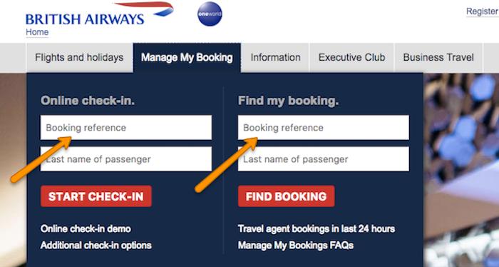 British Airways my booking section