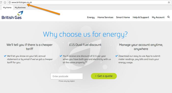 Step 1 enter British Gas website