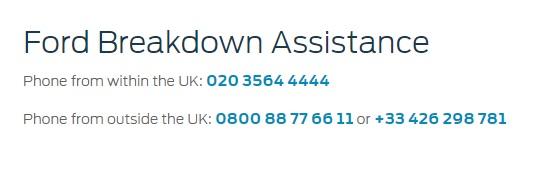 Ford UK Breakdown Assistance Numbers