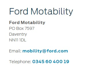 Ford Motability Service Number and Email