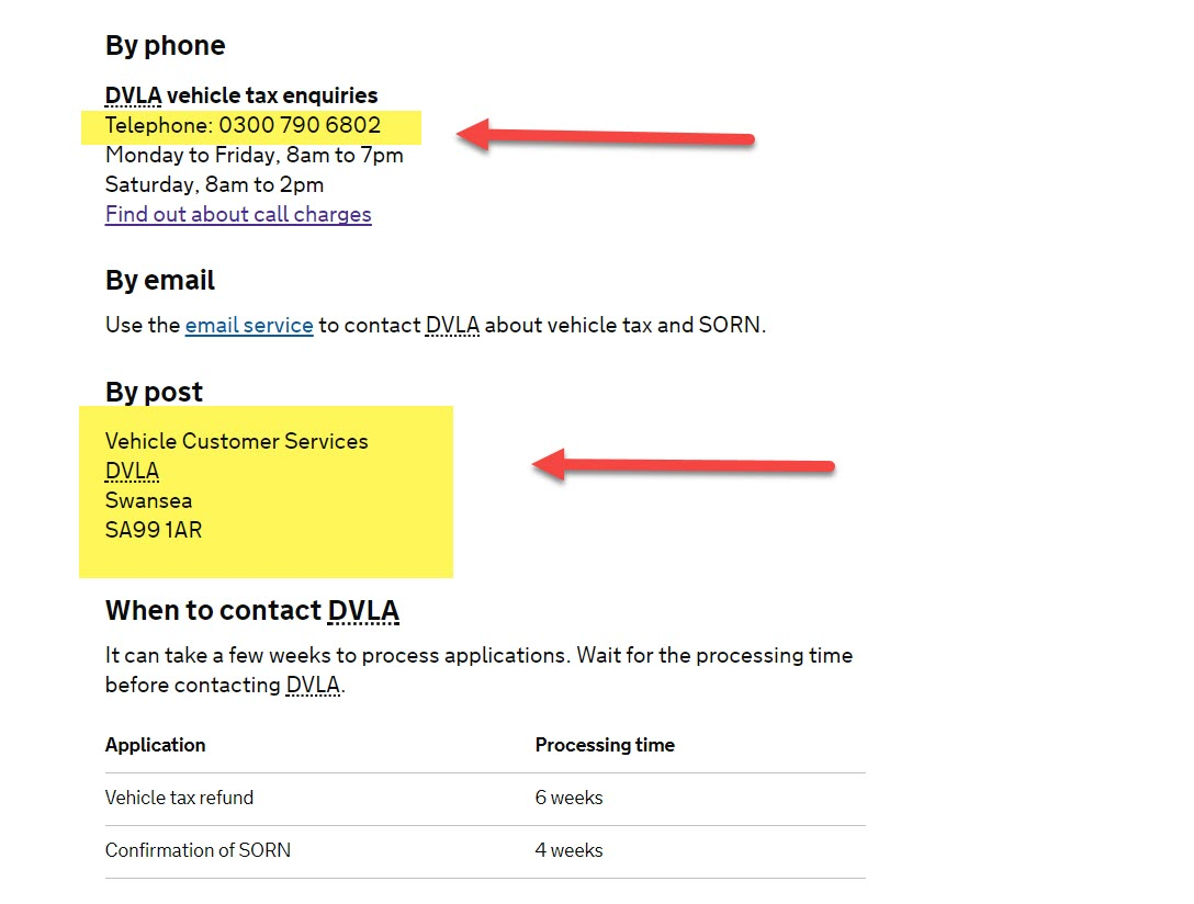 Dvla Free Number  For Car Tax Refund
