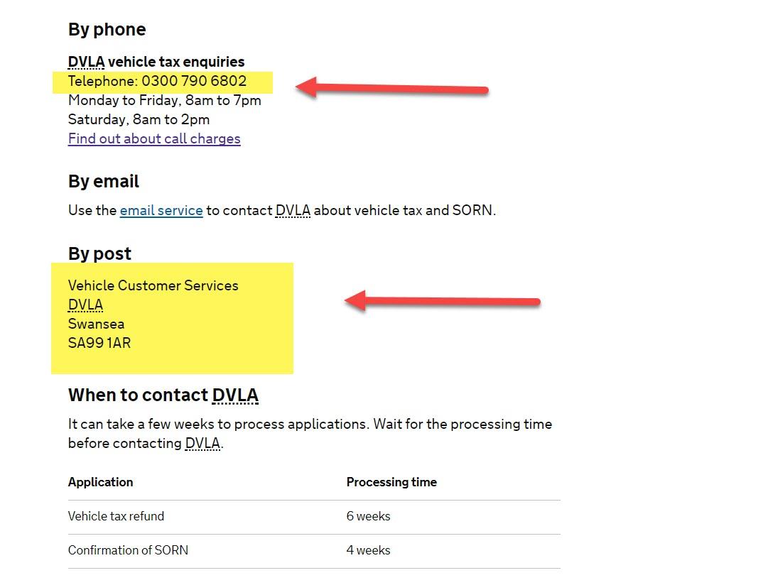 Car Tax Helpline Number