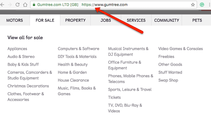 Gumtree homepage