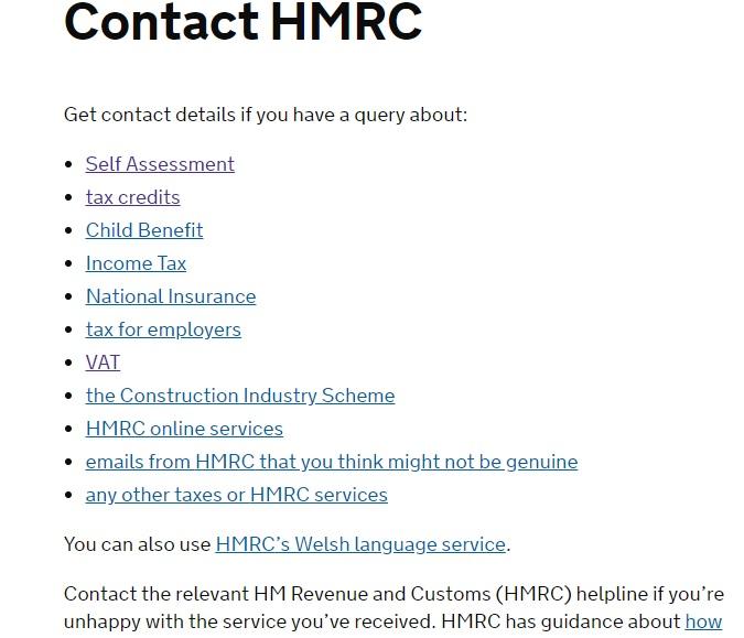 HMRC contact page