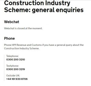 HMRC Construction Industry Scheme Contact Number