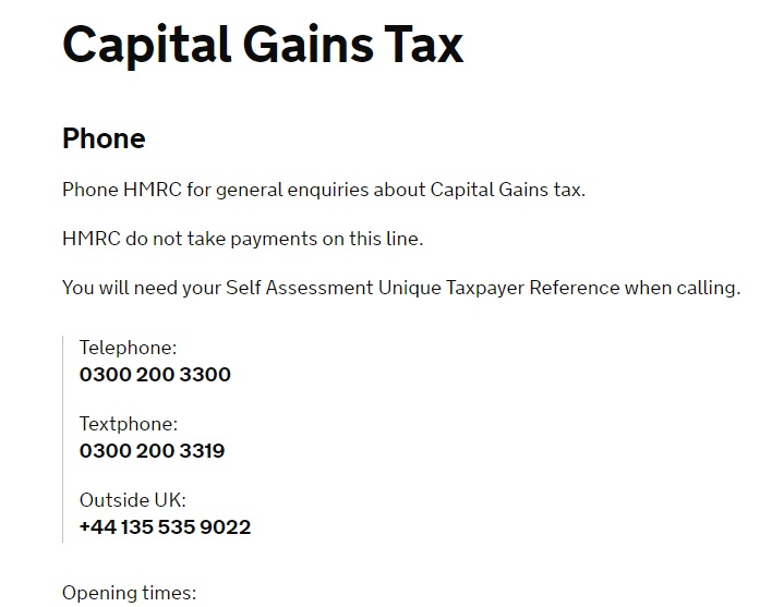 HMRC Capital Gains Tax Contact
