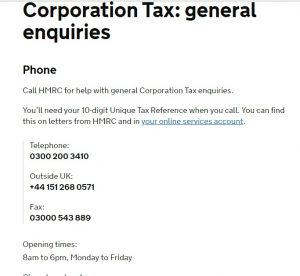 HMRC Corporation Tax Contact