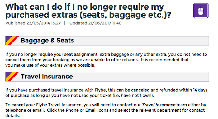 Cancel Flybe Baggage, Seats or Travel Insurance