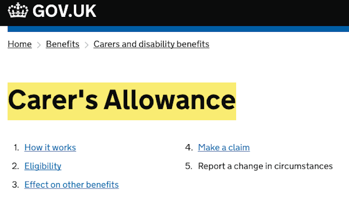 DWP Carer's Allowance Change of circumstances