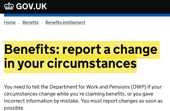 DWP Change of Circumstances