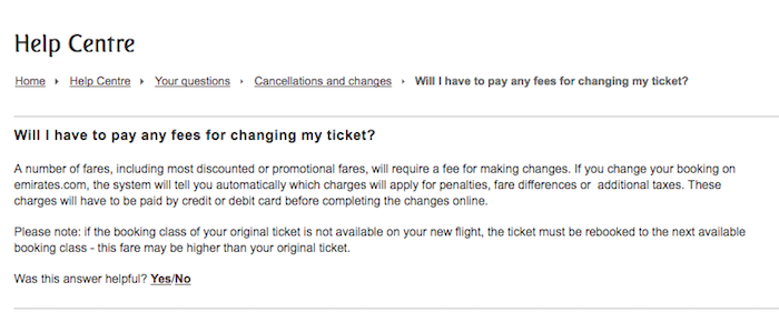 Emirates airline cancellation fees