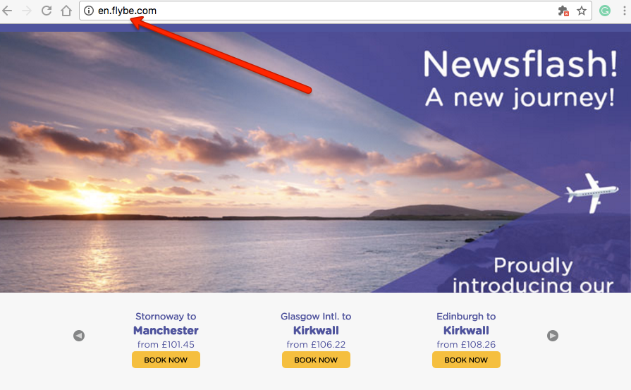 Flybe main website