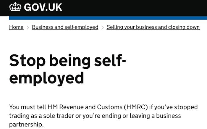 HMRC Cancel Self Employment