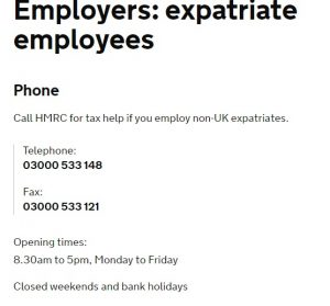 HMRC Expatriate Helpline