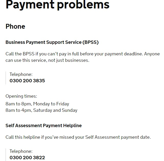 HMRC Payment Issue Contact