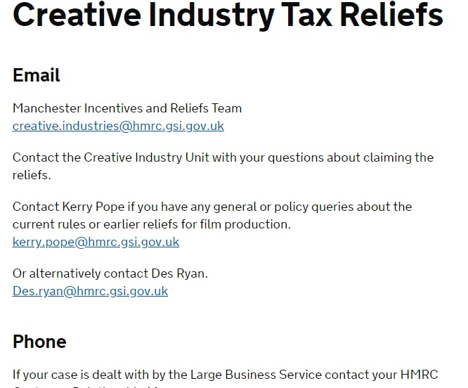 HMRC Creative Industry Tax Relief Contact Number