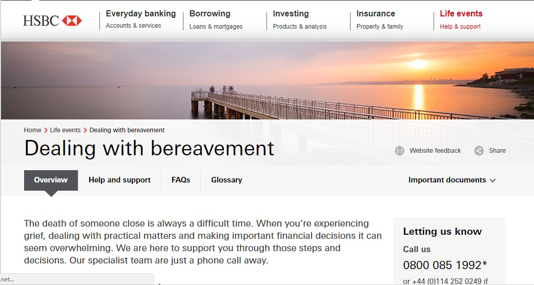 HSBC Bereavement Contact Number