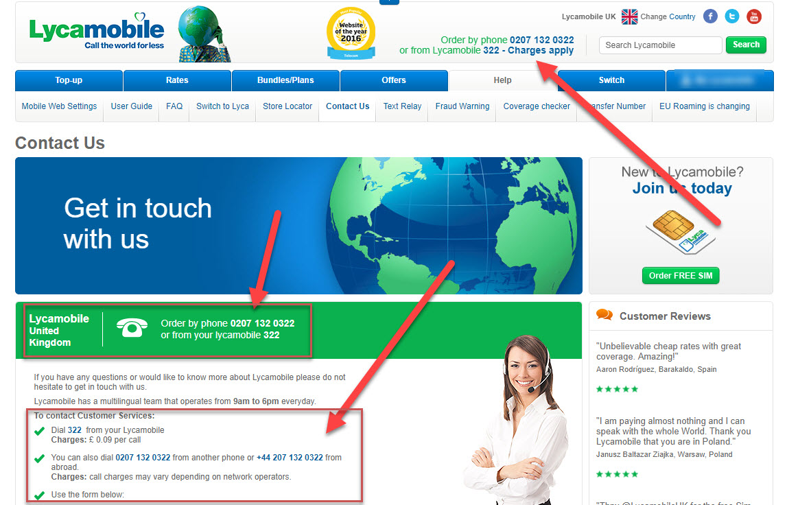 Lycamobile Customers Contact Number: 0207 132 0322 (322 From
