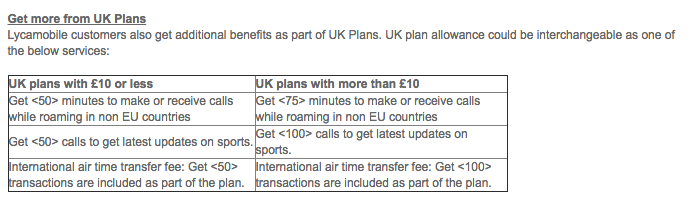 Lycamobile UK plans