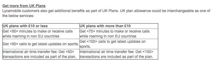 Lycamobile UK plans