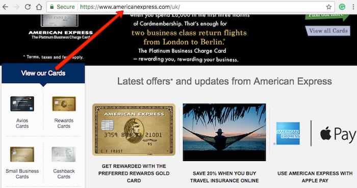 American Express main website