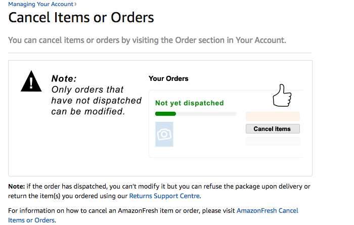 Cancel Amazon order or item