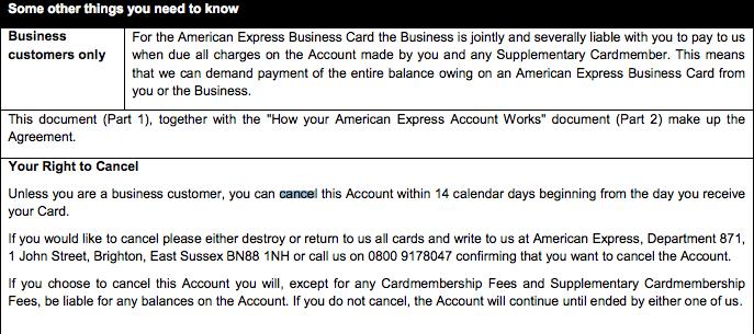 Cancel American Express Card