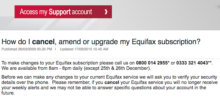 Cancel Equifax Subscription