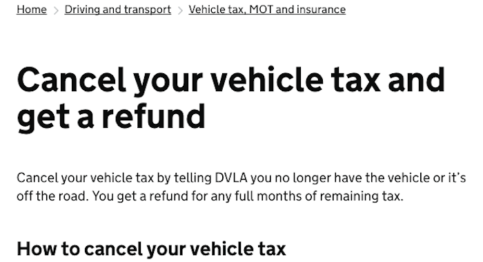 DVLA cancellation policies