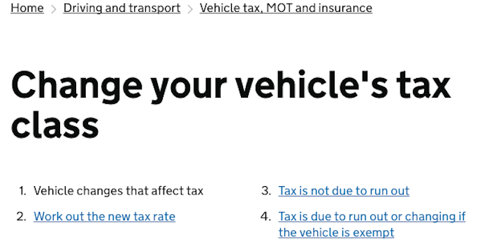 DVLA Change of Tax Class