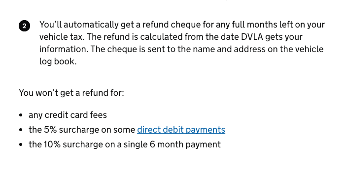 DVLA refund vehicle tax